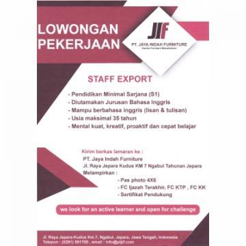 Lowongan Pekerjaan | Staf Ekspor PT Jaya Indah Furniture