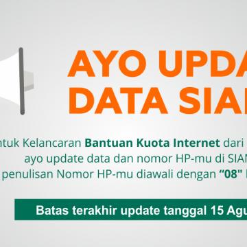 Pengumuman Update Data Siama untuk Bantuan Kuota Internet