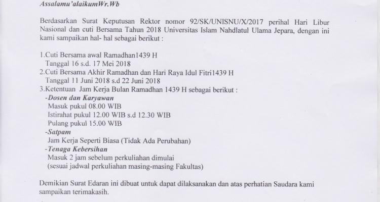 Surat Edaran Cuti Bersama Dan Jam Kerja Ramadhan 1439 H Unisnu