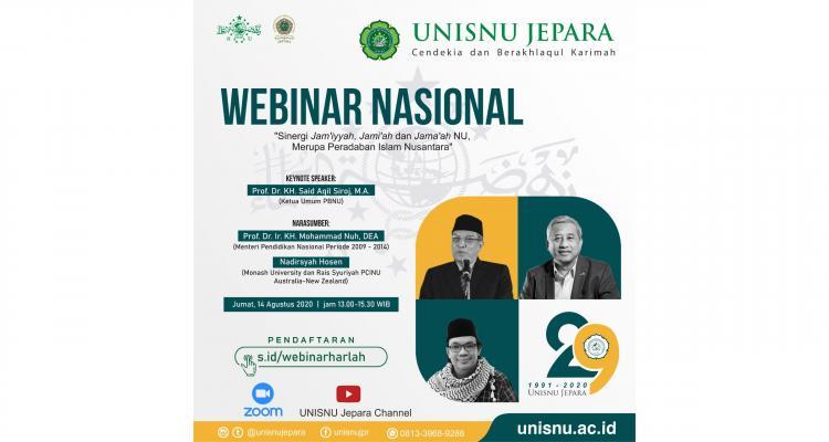 """Webinar Nasional """"Sinergi Jam'iyyah, Jami'ah dan Jama'ah NU, Merupa Peradaban Islam Nusantara"""""""
